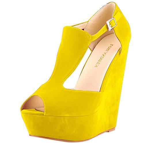 Oasap Women's Peep Toe Buckle Wedge Heels Sandals Yellow