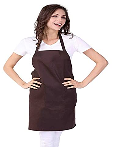WM Beauty Unisex Kitchen Apron with Adjustable Shoulder Strap and 2 Pockets, Dark Brown by WM Beauty