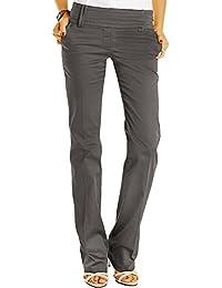 Bestyledberlin Damen Boot-Cut Hose, Sommerhose Ausgestelltes Bein, Basic Bügelfalten Hüfthosen j13k
