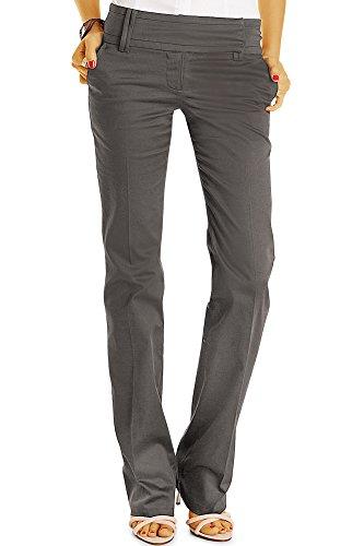 Bestyledberlin Damen Boot-Cut Hose, Sommerhose Ausgestelltes Bein, Basic Bügelfalten Hüfthosen j13k-neu 42-grau (Bein Weites Grau)