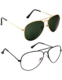 Magjons Fashion Combo Of Gold Green And Clear Lens Aviator Sunglasses
