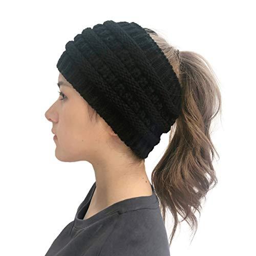 SANNYSIS Frau Winter Gestrickt Stirnband Häkeln Headwrap Crochet Kopfband Haarband Strick Cabel Knit Ohrenschutz Damen mit Zopfmuster, Haarband, Headband Schwarz -
