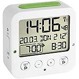 TFA Dostmann 60.2528.02 BINGO Funk-Wecker Weiß/Grün mit autom. Hintergrundbeleuchtung, Datum, Temperaturanzeige und zwei Weckzeiten