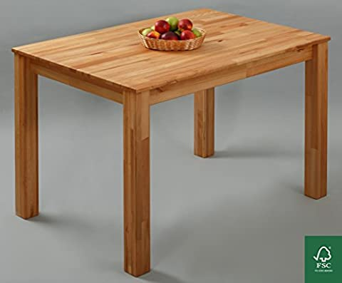 Dining Table 100% FSC Bonn 110x75x75cm Dining Room Table Solid Wood Table for Kitchen Hardwood Table Beech