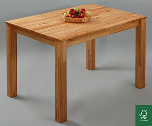 Esstisch Massivholz Buche 100% FSC Bonn Esszimmertisch Massivholz Tisch (110 x 75 x 75 cm)
