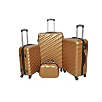New Travel Hardside spinner luggage Set of 4 pieces with 3 digit number Lock -Gold