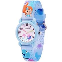 WOLFTEETH Analog Muchachas Toddlers School Day Reloj con Segunda Mano Cute Pequeño Ronda Dial Resistente al Agua Niñas Mira Starfish Band Azul 306601
