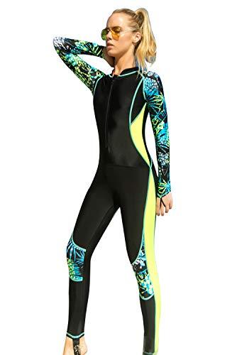 SANANG Damen Langarm Badeanzug Schwimmanzug UV-Anzug UPF>50 Schutzkleidung Sunsuit (1203Schwarz, XX-Large)