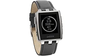 Pebble 401SLR Brushed Edelstahl Smart Watch (3,2 cm (1,26 Zoll) E-paper Display inkl. LED Backlight)