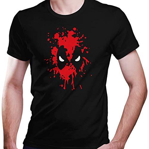 Kostüm Superhelden Übergröße - DragonHive Herren T-Shirt Blutgesicht Blut Gesicht Bloody Face Comic, Größe:XL, Farbe:Schwarz