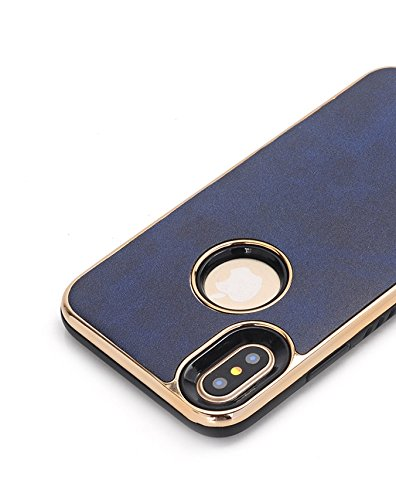 Für iPhone 5.8 Zoll Fall, Für iPhone X galvanisieren weicher TPU verrückter Pferdebeschaffenheits-schützenden Fall (5,8 Zoll) ( Color : Dark blue )