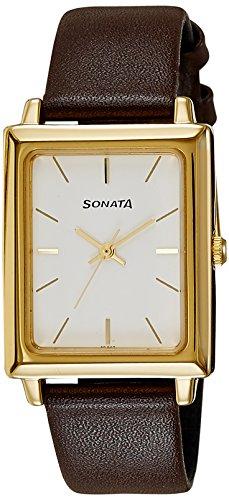 Sonata Analog White Dial Men's Watch -NK7078YL01