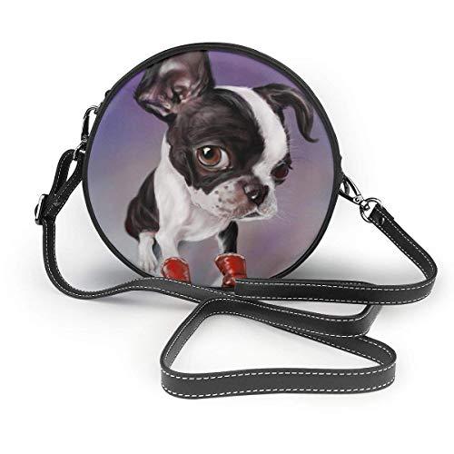 fhjhfgjghfjghfj Women's Round PU Leather Crossbody Satchel Boxing Boston Terrier Print Shoulder Bag Circle Tote Handbag for Girls -