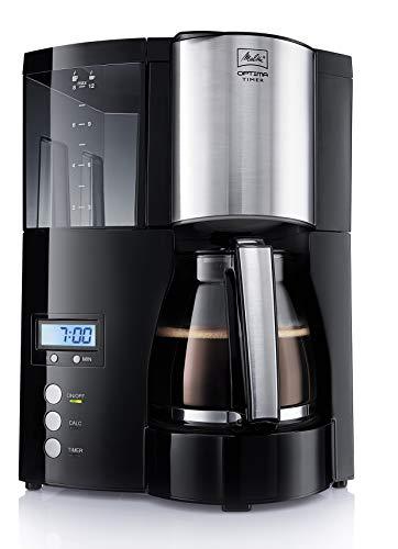 Melitta Optima Timer 100801 bk, Filterkaffeemaschine mit Glaskanne und Timer-Funktion, Abnehmbarer Wassertank, Schwarz