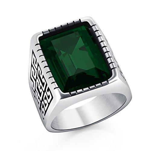 Vintage gran modelo de pared en relieve de acero inoxidable anillo verde piedra preciosa Band para amigos