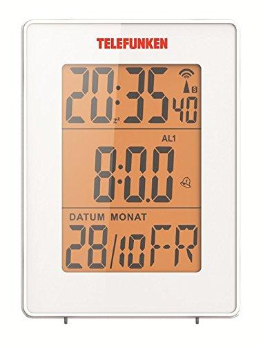 TELEFUNKEN FUD-30-S (W) Wecker Funkwecker digital Funkuhr DCF LCD Multifunktion Bewegungssensor weiß zweifacher Alarm Innentemperatur Thermometer Datum Monat Kalender Wochentag Zweite Zeit