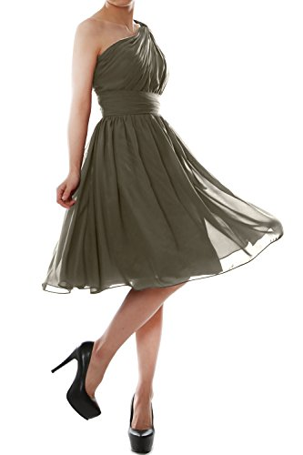 MACloth Women One Shoulder Chiffon Short Bridesmaid Dress Cocktail Party Gown (40, Pewter) -