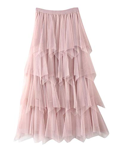 Maxi Gonne in Tulle da Donna Casual Elastico in Vita Gonna Torta Gonna A Pieghe per Festa Party Pink
