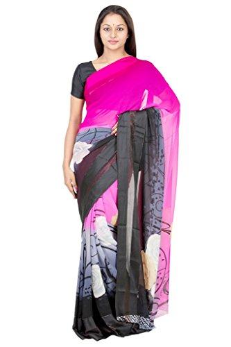 The Chennai Silks - Shimmer Self Zari Striped Border Georgette Saree -...