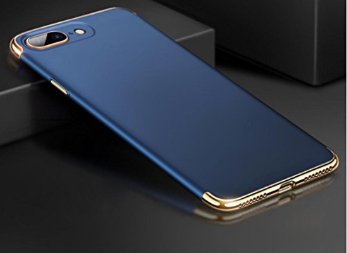 Ouneed® Für iPhone 8 plus 5.5 Zoll Hülle , 3 in 1 Ultra-thin 360 Full Body Anti-Scratch Shockproof Hard PC Non-Slip Skin Smooth Back Cover Case with Electroplate Bumper für iPhone 8 plus 5.5 Zoll (Rot Blau