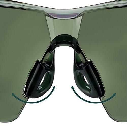 NoCry Sonnen-Schutzbrille mit grün getönten, kratzbeständigen Gläsern, Seitenschutz und rutschfesten Bügeln, UV 400 Schutz, verstellbar, schwarz grüner Rahmen. - 7