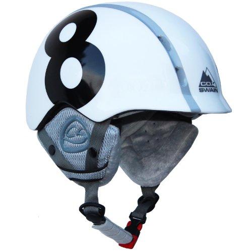 Cox Swain Kinder Ski-/Snowboard Helm TUKINO - Größenverstellbar mit Trackrad, Colour: White, Size: S