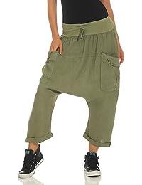 Malito Femmes Harem Pantalon Lin Pantalons Bloomers Capri Plain Couleurs  6824 ab7870939dc