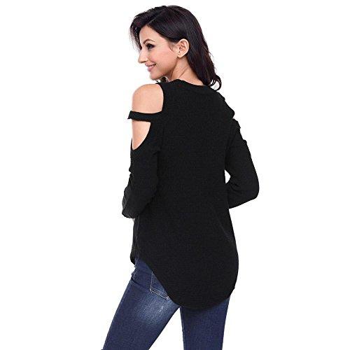 Donne Maglione cinghietti fredda spalla strutturato maglione Top moda girocollo unico Chic spalla della rugiada di stile MAGLIA grande formato delle maniche lunghe donna 3 formato di colore 4 Black
