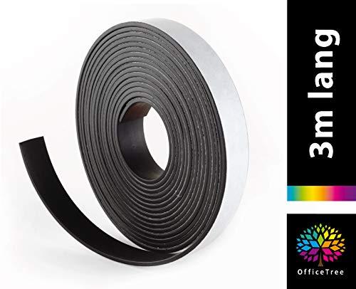 OfficeTree ® Magnetband 3 m - selbstklebend für sichere Magnetisierung von Plakaten Fotos Papier - extra starke Haftkraft an Whiteboard Magnet-Tafel Pinnwand - schwarz (3 m)