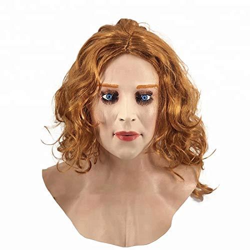 Hengyutoy Mask Realistische Weibliche Masken Halloween Weihnachtsmasken Gesicht Cosplay Männlich zu Weiblich für Crossdresser Transgender Shemale