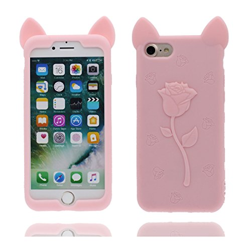 "iPhone 7 Handyhülle, iPhone 7 Hülle Cover 4.7"", [3D Einhorn unicorn Cute] Gel-Shell TPU flexibles Shell iPhone 7 case 4.7"" Staub Kratzer beständig Pink"