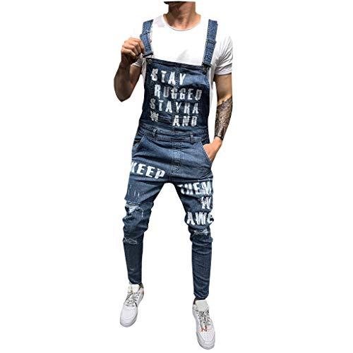 HHyyq Männer Denim-Hosen Lässige Retro Combat Cargo Latzhose Latzhose Jeans Jumpsuits Herrenfreizeit Locker Latzhose Volltonfarbe Retro Jeans-Overalls(Blau,S) -