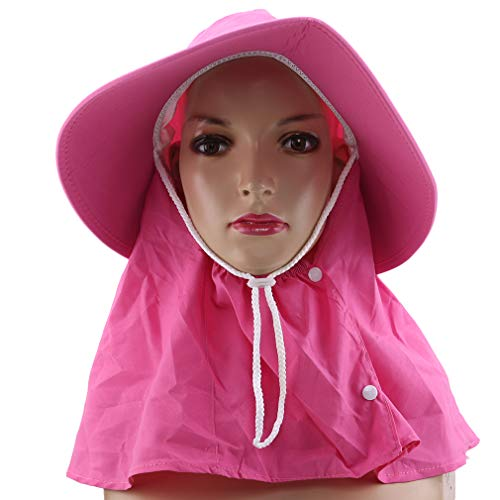 ZNMUCgs faltbarer Normallack-Sonnenhut-Sommer-im Freienfischen-Hut-UVschutz-Maske entfernbarer justierbarer Jagd-Hut, Wassermelonenrot -