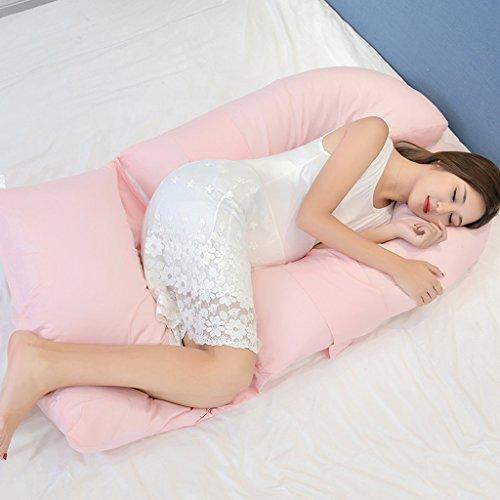 Coussin latéral Coussin Femme Enceinte Protégez la Taille Polyvalent Type U Oreiller Coussin Taille Attention à l'abdomen Réglable Coussin d'allaitement Détachable 100% Coton Rose