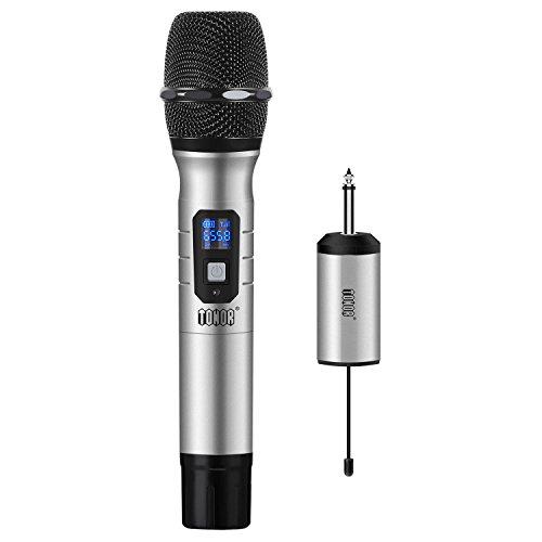 Tonor Bluetooth Funkmikrofon, 10 Kanal UHF Handmikrofon Karaoke Singing Mic mit Mini FM Empfänger, kompatibel mit Lautsprecher/Handy / IPAD/Laptop für Hochzeiten/Kirche / Bühne/Party (Silber)