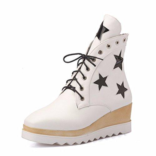 Big size women's shoes, thick bottom stars, student girls, fashion heel, short boots
