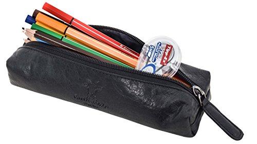 Gusti Leder studio ''Peter'' porta penne portacolori astuccio università ufficio impermeabile vintage vera pelle di bufalo unisex nero grigio 2S1-20-6wp