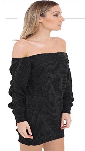 Janisramone -  Vestito  - Basic - Maniche lunghe  - Donna Charcoal