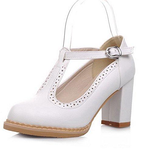 AgooLar Femme Matière Souple à Talon Haut Boucle Couleur Unie Chaussures Légeres Blanc