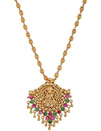 1 Gram Gold Plated Lakshmi Pandent With Ruby And Green Stone Without Chain 661