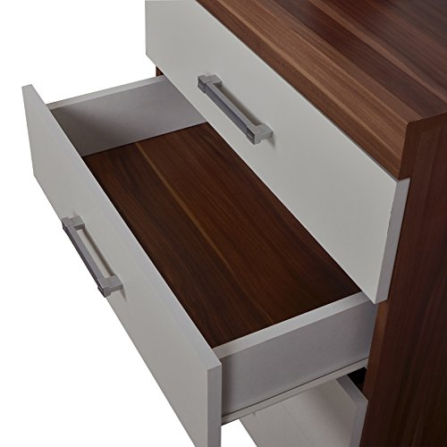 4 drawer chest of drawers white walnut effect bedroom - Walnut effect living room furniture ...