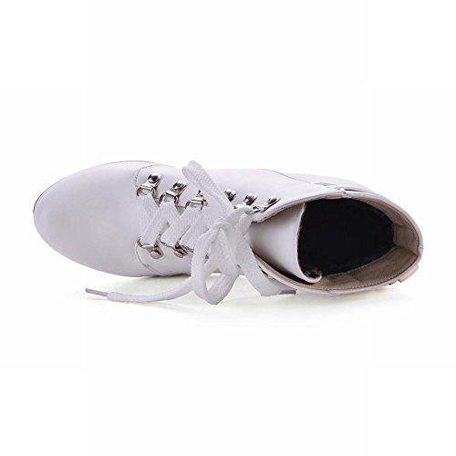 Mee Shoes Damen mit Schnürsenkel Plateau high heels Stiefel Weiß