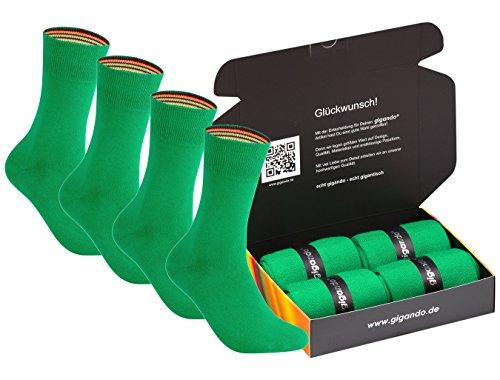 gigando | colorful Baumwoll-Socken | kräftige Farben für Damen und Herren | Hand gekettelt | extra feines Maschenbild | trendige unifarbene Strümpfe | 4 Paar | grün | 39-42 | (Socken Hose Farbe)