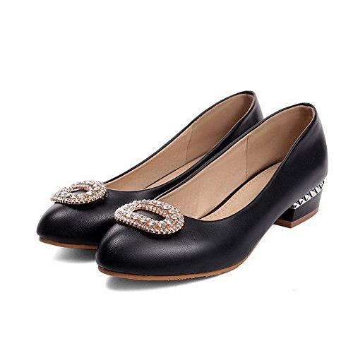 VogueZone009 Femme Rond à Talon Bas Matière Souple Mosaïque Tire Chaussures Légeres Noir