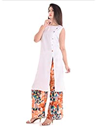 Women's Sleeveless White Front Button Side Slit Kurti With Multicolored Palazzo (PC)