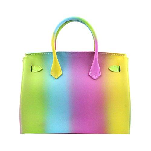 Yy.f Nuovo Borse Di Modo Sacchetti Opaco Satinato Colorato Pacchetto Platino Gelatina Borsa Femminile Arcobaleno Sacchetto 2 Colori B