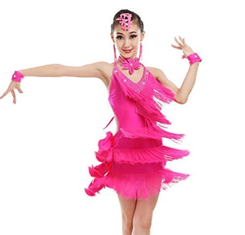 Kostüm Kinder Dance Latin - YZLL Kinder Latin Dance Kostüme Damen Frühjahr und Sommer Kostüme Quaste Tanzrock Test Siamesische Übungskleidung,Pink,140CM