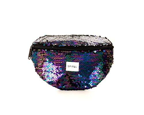 Spiral Midnight Sequins Bum Bag Sac Banane Sport, 24 cm, 3 liters, Noir (Black)