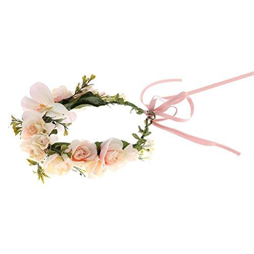 Pixnor Tocado de vestido de flor diadema guirnalda corona Festival boda pelo corona diadema novia sombreros luz rosa
