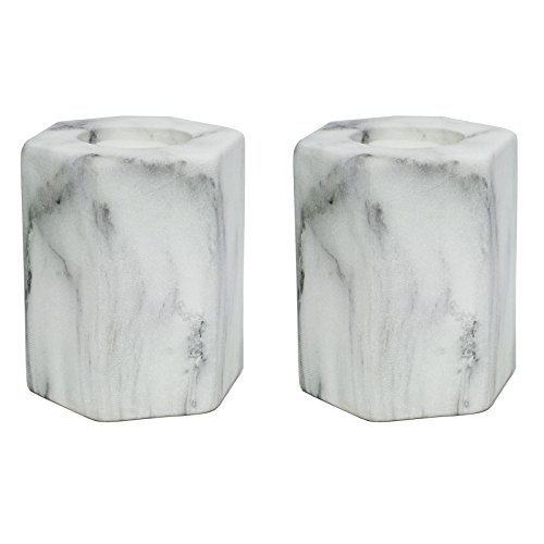 just-contempo-carrara-hexagon-tea-light-candle-holder-stone-white-set-of-2
